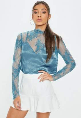 Missguided Blue Cami Insert Lace Crop Top