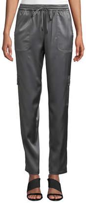 Elie Tahari Zuma Satin Cargo Jogger Pants