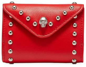 Alexander McQueen Skull stud leather coin pouch
