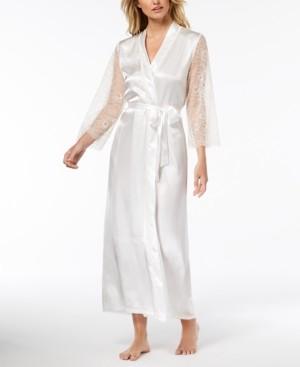 Keepsake Linea Donatella Long Satin Lace-Trim Wrap Robe