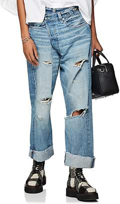 R 13 Women's Distressed Crossover Jeans - Blue