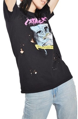 Women's Topshop By And Finally Nibbled Metallic Tee $50 thestylecure.com