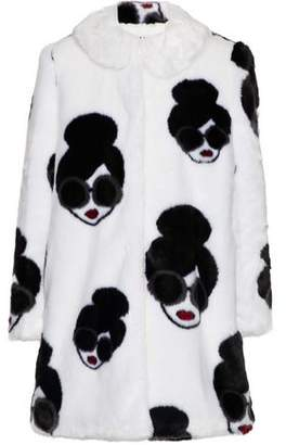Alice + Olivia Kinsley Printed Faux Fur Coat