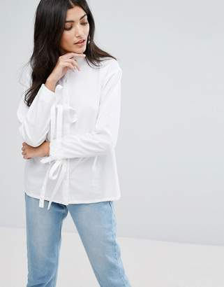 Daisy Street Relaxed Shirt With Tie Cuff Detail