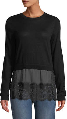 Club Monaco Yahira Wool Sweater with Lace Underlay