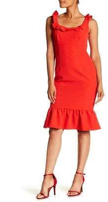Nanette Lepore NANETTE Ruffle Trim Solid Dress