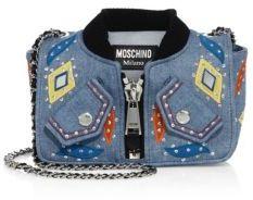 MoschinoMoschino Embroidered Denim Jacket Shoulder Bag