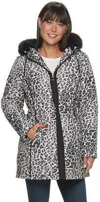 Details Women's Hooded Animal Print Anorak Puffer Jacket