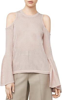BCBGMAXAZRIA Lucia Cold-Shoulder Eyelet Knit Sweater $178 thestylecure.com