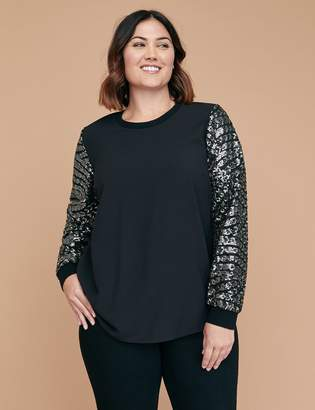 Lane Bryant Sequin-Sleeve Woven Sweatshirt