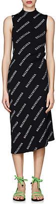 Balenciaga Women's Logo Rib-Knit Wrap Dress - Black