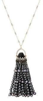 Carolee Goldtone and 6mm Freshwater Pearl Tassel Necklace