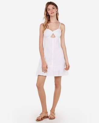 Express Cut-Out Twist Front Ruffle Hem Mini Dress