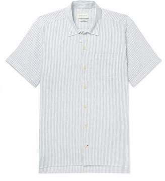 Oliver Spencer Striped Organic Cotton And Linen-Blend Shirt