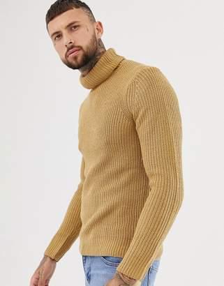 Bershka knitted roll neck sweater in camel