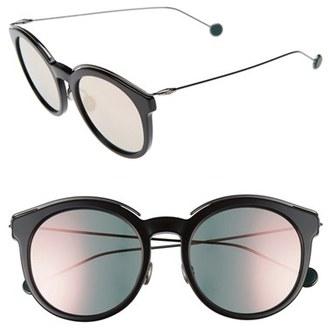 Women's Dior Blossom 52Mm Round Sunglasses - Black/ Dark Ruthenium $550 thestylecure.com