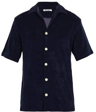 Hecho - Terry Towelling Cotton Blend Short Sleeved Shirt - Mens - Navy