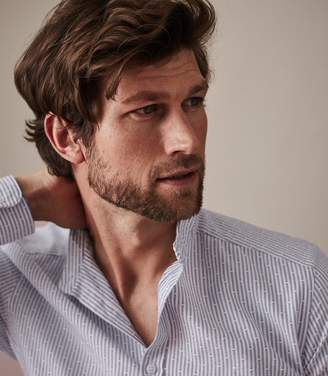 Reiss ORDER BY MIDNIGHT DEC 15TH FOR CHRISTMAS DELIVERY REX STRIPED GRANDAD COLLAR SHIRT Soft Blue