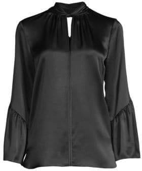 Elie Tahari Women's Laraib Twist Neckline Silk Blouse - Rich Cream - Size XL