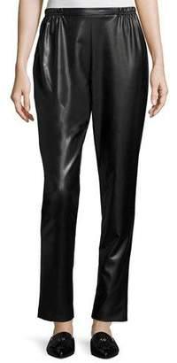 Caroline Rose Bi-Stretch Faux-Leather Pants, Black, Petite