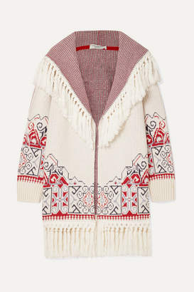Philosophy di Lorenzo Serafini Hooded Tasseled Cotton-blend Jacquard Cardigan - White