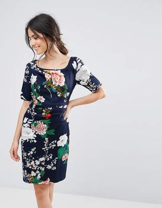 Yumi Floral Print Dress With Gathered Front