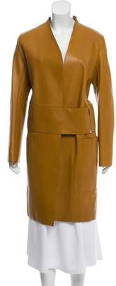 The Row Leather Knee-Length Coat