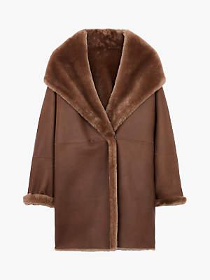 Gerard Darel Maxime Sheep Skin Faux Fur Coat, Brown