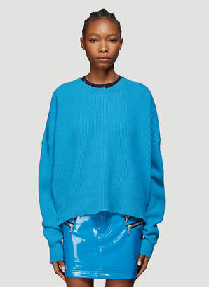 Unravel Project Oversized Rib Crew Neck Sweater in Blue