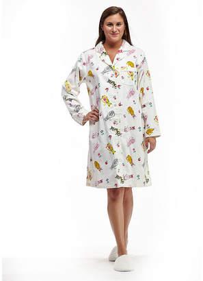 La Cera Plus Size Novelty Print Button Front Flannel Nightshirt - Plus