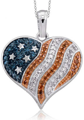 FINE JEWELRY 1/4 CT. T.W. White and Color-Enhanced Blue and Red Diamond Flag Heart Pendant Necklace