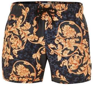 Topman Mens Navy Baroque Print Swim Shorts