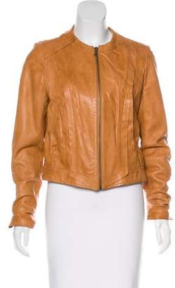 Ashley B Crew Neck Leather Jacket