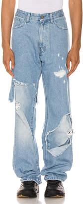 Raf Simons Destroyed Denim Pants in Light Blue   FWRD