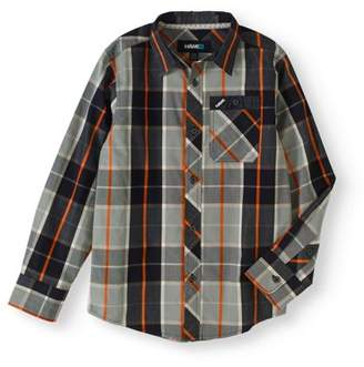 Tony Hawk Long Sleeve Button Up Plaid Shirt (Big Boys)