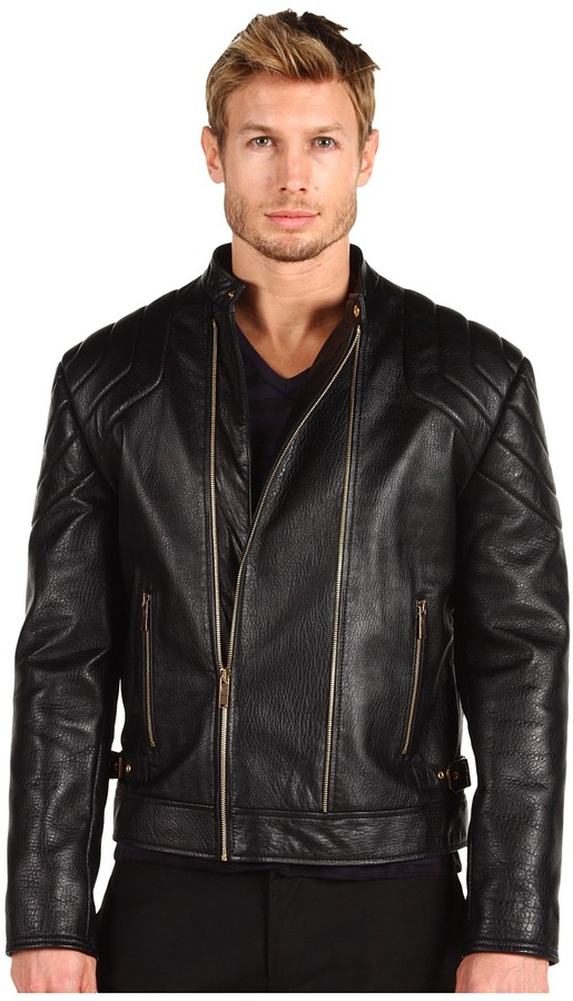 Versace Leather Motorcycle Jacket (Black) - Apparel