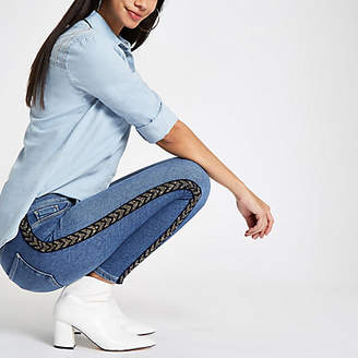 River Island Mid blue Molly embellished tape jeggings