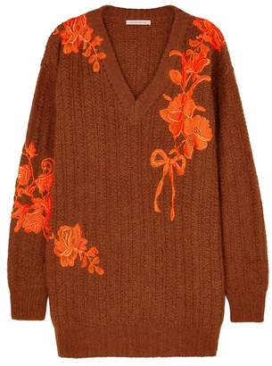 Christopher Kane Burnt Orange Appliqued Wool-blend Jumper