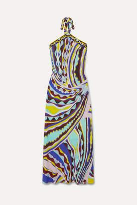 Emilio Pucci Printed Crepe De Chine Halterneck Maxi Dress - Turquoise