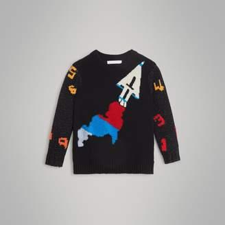 Burberry Rocket Detail Intarsia Cashmere Blend Sweater
