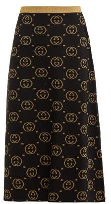 Gucci Gg Jacquard Knit Wool Blend Midi Skirt - Womens - Black Gold