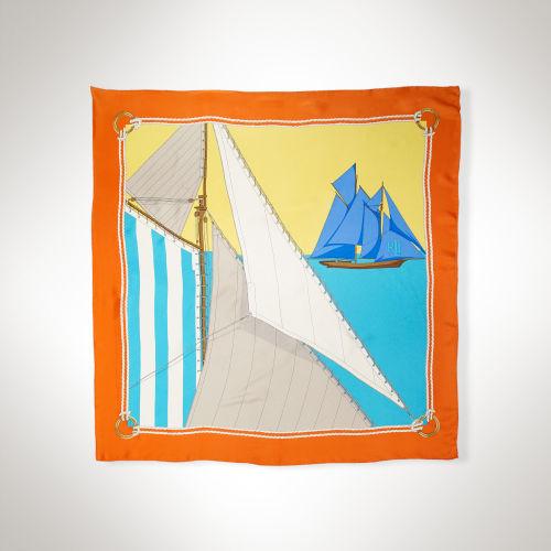 Ralph Lauren Nautical Silk Square Scarf