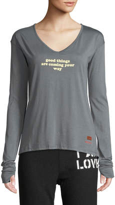 Peace Love World Claudia Long-Sleeve Good Things Slogan Tee