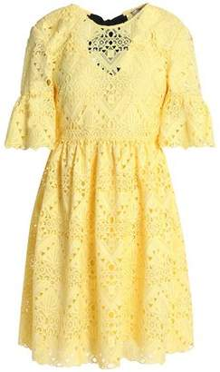 Perseverance Tie-Back Crocheted Mini Dress