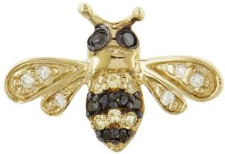 Sydney Evan Single Bee Stud Earring - Yellow Gold