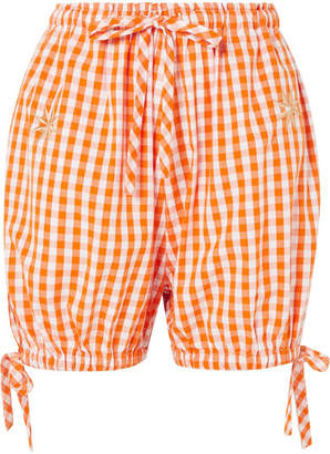 Innika Choo - Embroidered Gingham Cotton Shorts - Orange