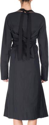Proenza Schouler Long-Sleeve Faux-Wrap Harness Dress, Black