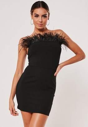 Missguided Black Feather Bandeau Mini Dress