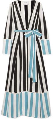 Leone we are Striped Silk Crepe De Chine Wrap Robe - Blue