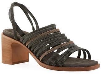 Brunello Cucinelli Multi-Band Monili City Sandals